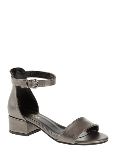 Derigo Kalın Topuklu Sandalet Gümüş